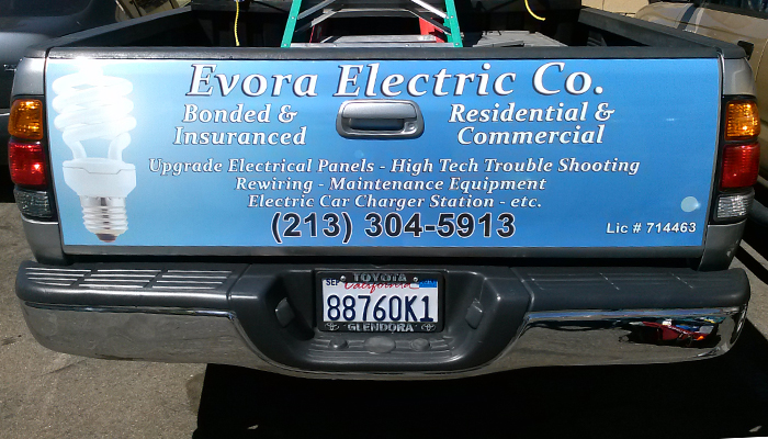 Evora electric co sticker on truck